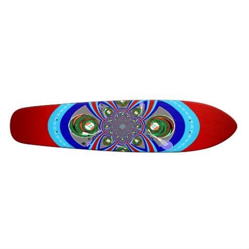 Rétro conception bleue blanche rouge de plaque tou skateboards personnalisés