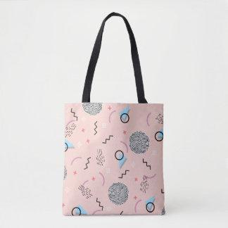 Retro Confetti Memphis Pattern Pink Tote Bag