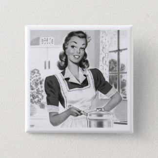 Retro Cook 2 Inch Square Button