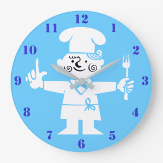 RETRO COOK (BLUE) Kitchen Wall Clock