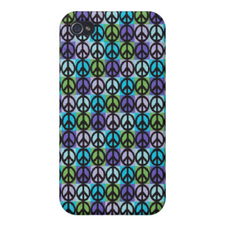 Retro Cool Blue Peace Signs Case iPhone 4 Cases For iPhone 4