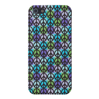 Retro Cool Blue Peace Signs Case iPhone 4 iPhone 5 Covers
