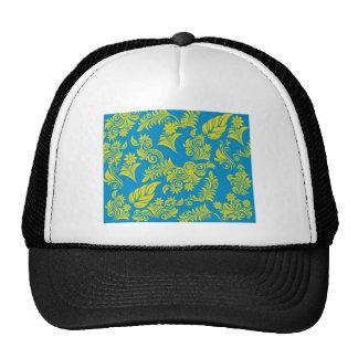 Retro cool floral pattern mesh hat