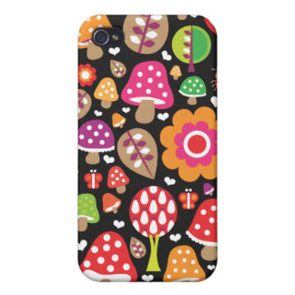 Rétro coque iphone de motif de fleur et de champig coques iPhone 4