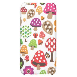 Rétro coque iphone de motif de fleur et de champig coques iPhone 5C
