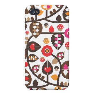 Rétro coque iphone de motif de fleur et de champig étui iPhone 4/4S