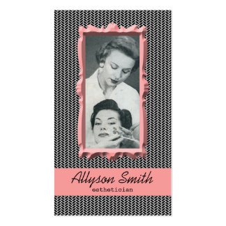 Retro Coral Houndstooth Esthetician Business Card