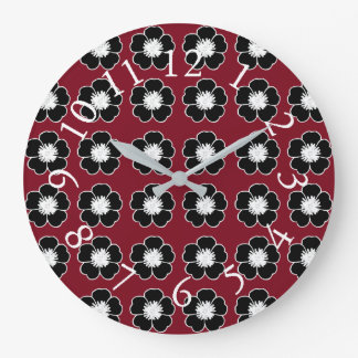 Retro-Cottage-Flowers-Red-Black-Accent-Clocks Large Clock