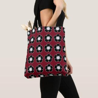 Retro-Cottage-Flowers-Red-Black-Shoulder-Bags-Tote Tote Bag
