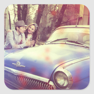 Retro Couple and Car Fifties Vintage Stickers