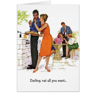 Retro Couple - Farting in Bed, Card