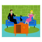 Retro Couple with Cat Poster