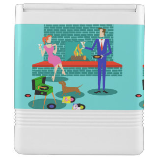 Retro Couple with Dog Igloo Can Cooler