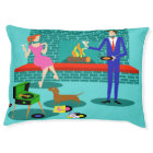Retro Couple with Dog Pet Bed
