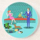 Retro Couple with Dog Sandstone Coaster