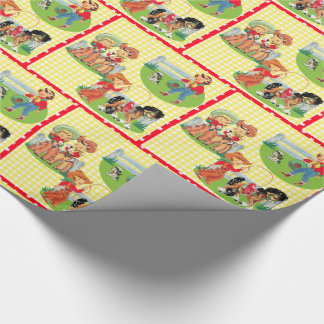 Retro Cowboy Cowgirl Kids Birthday Yellow Check Wrapping Paper