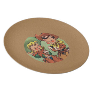 Retro Cowboy Cowgirl pets Kids Plate