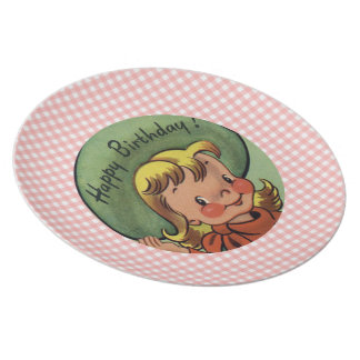 Retro Cowgirl Happy Birthday Kids Plate