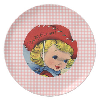 Retro Cowgirl Howdy Partner Kids Plate