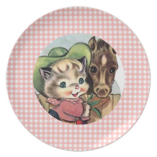 Retro Cowgirl Kitten with Horse Kids Plate