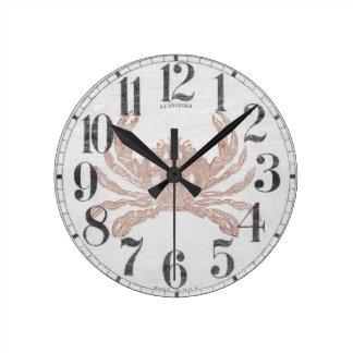 Retro Crab Round Clock
