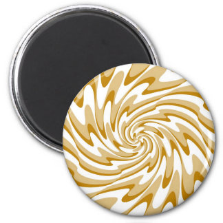 Retro Cream and White Waves Abstract Art Magnet