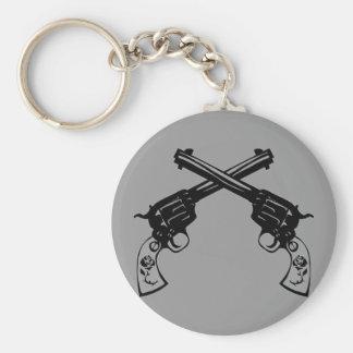 Retro Crossed Pistols Basic Round Button Keychain