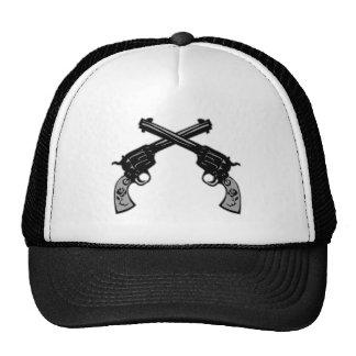 Retro Crossed Pistols Trucker Hats
