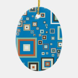 Retro cubes ceramic oval ornament