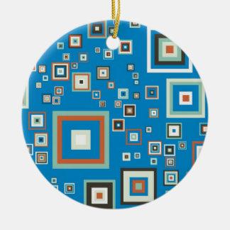 Retro cubes round ceramic ornament