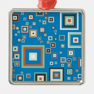 Retro cubes Silver-Colored square ornament