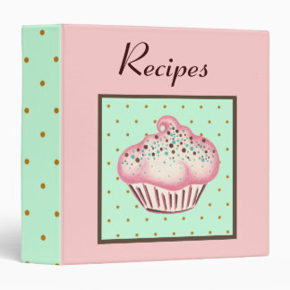 Retro Cupcake Dessert Recipe Binder Gift