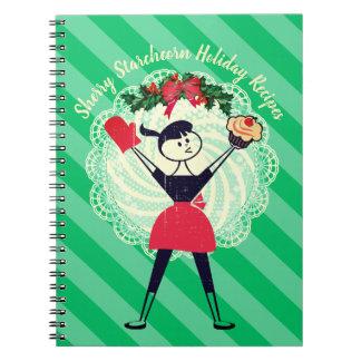 Retro cupcake girl baking cookbook recipe notebook