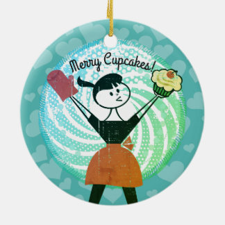 Retro cupcake housewife bakery Christmas ornament