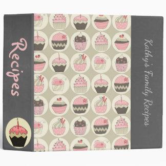 Retro Cupcakes Chalkboard Recipe or Photo Vinyl Binders