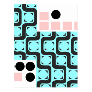 Retro Curved Lines Squares and Circles Postcard