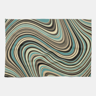 Retro Curvy Abstract Shapes Kitchen Towel