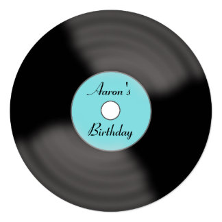 Retro Custom Birthday Vinyl Record Invitations