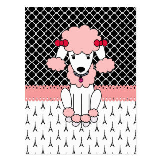 Retro custom girly diva pink Paris Poodle Postcard