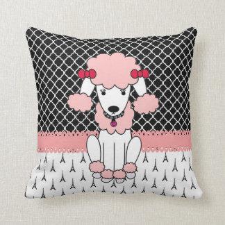 Retro custom girly diva pink Paris Poodle Throw Pillow