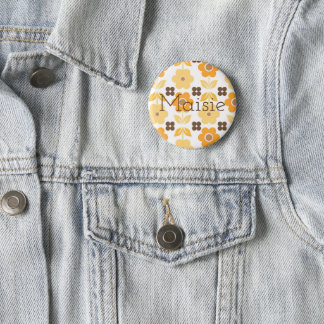 Retro Customisable Yellow Flowers Badge 2 Inch Round Button