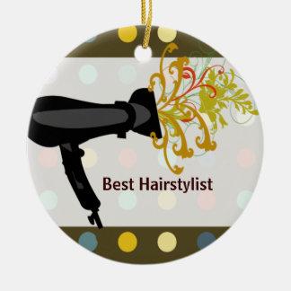 Retro Cute Colorful Salon Hair Stylist Round Ceramic Ornament