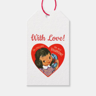Retro Cute Girl Valentines Gift Tags
