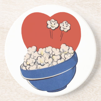 Retro Cute Humor, Bowl of Popcorn for the Movies! Beverage Coaster