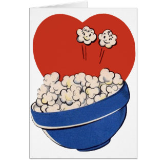 Retro Cute Humor, Bowl of Popcorn for the Movies! Card