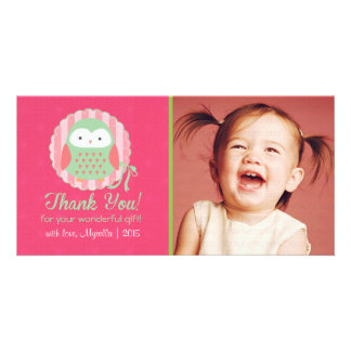 Retro Cute Owl Pink & Green Girly Thank You Customized Photo Card