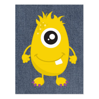 Retro Cute Yellow Monster Postcard