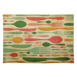 Retro cutlery pattern background place mats