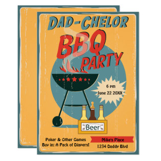 Retro Dad-Chelor BBQ Party Baby Shower Card
