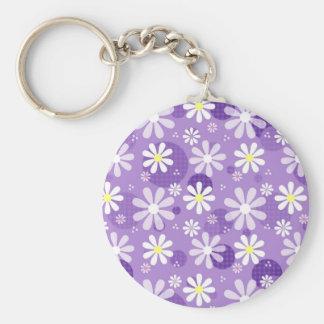 Retro Daisies Purple Gingham Circles Keychain
